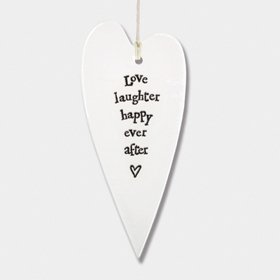 Long heart - 'love laughter happy ever after'