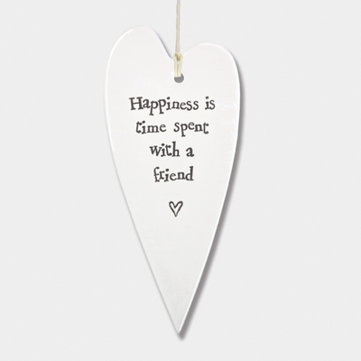 Long heart - 'happiness is time spent with a friend'