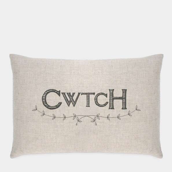 "East of India cushion "" CWTCH"""