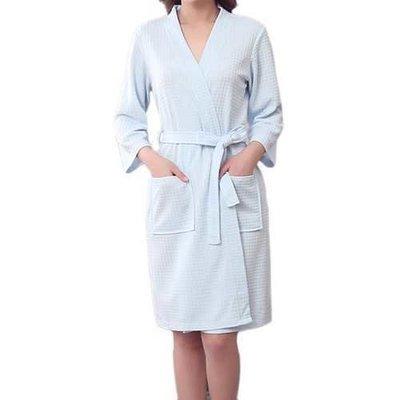 Honana BX-987 Towel Bathrobe Dressing Gown Unisex Men Women Solid Cotton Waffle Sleep Lounge