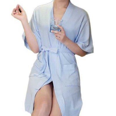 Honana BX-988 Towel Bathrobe Dressing Gown Unisex Men Women Solid Cotton Couple Waffle Sleep Lounge