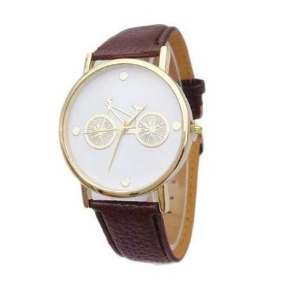 Bicycle Pattern Leather Band No Dial Number Wrist Watch