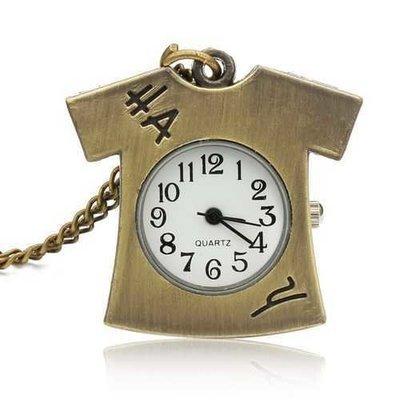 DEFFRUN Vintage Bronze Lovely T-shirt Design Pocket Watch