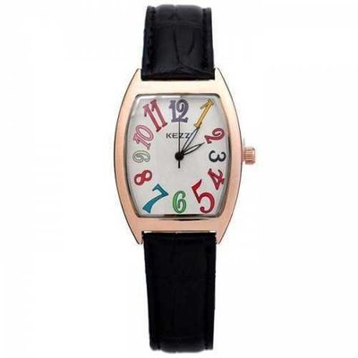 KEZZI Colorful Big Numbers Leather Band Imported Quartz Movt Female Watch - Black