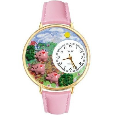 Pigs Large Gold Whimsical Watch
