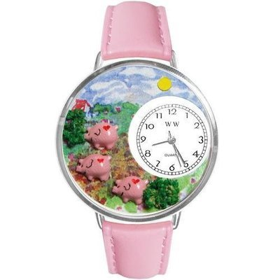 Pigs Large Silver Whimsical Watch