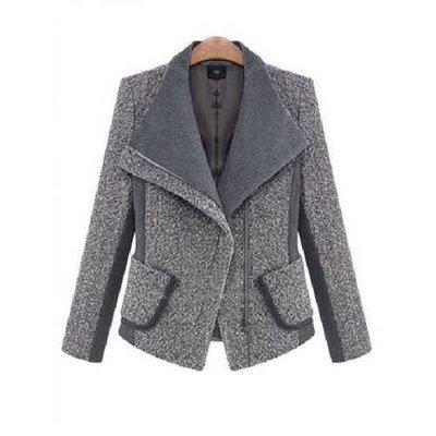 Women Lapel Patchwork Pockets Long Sleeve Wool Slim Blazer Suit