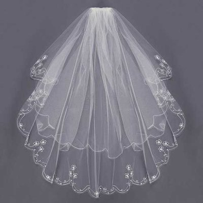 2 Layers Bride White Ivory Elbow Beaded Edge Embroidery Pearls Bridal Veil With Comb