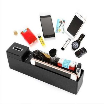Bakeey 4 in 1 Car Kit Dual USB Wireless Charger Coins Pocket Storge Bag For Mobile Phone Tablet