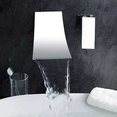Modern Bathroom Faucet Single Handle Sink Mixer Tap Wall Mounted Chrome Brass Waterfall