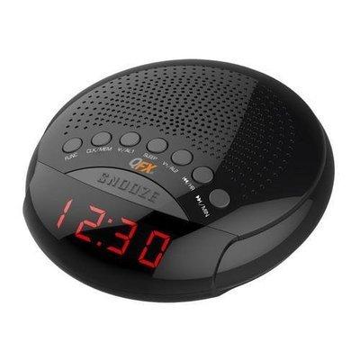 QFX AM/FM LED  Alarm Clock Radio - Black