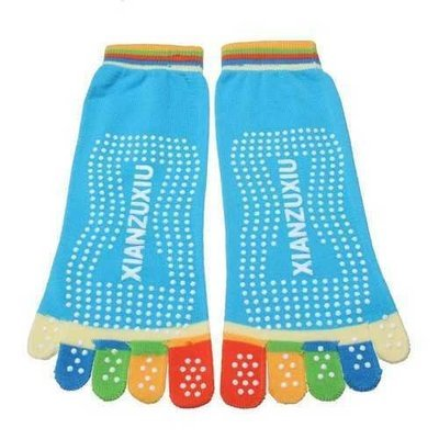 Colorful Five Finger Toe Yoga Non Anti Skid Slip Socks Pilates Gym Exercise Fitness Massage Multicolor