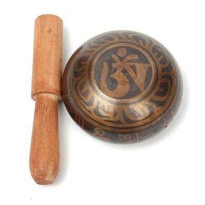 Gilt Bronze Tibetan Yoga Singing Bowl Buddhist Resonance Chakra Meditation With Hammered
