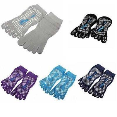 Elastic Cotton Yoga Sock Non Slip Full Toe Grip Fitness Silicon Massage Dots Sock 5 Colors