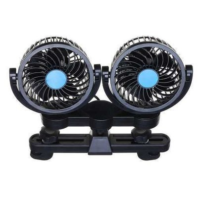 12V Dual Head Vehicle Car Headrest Rear Seat Cooling Fan 360 Degree Rotatable 2 Speed