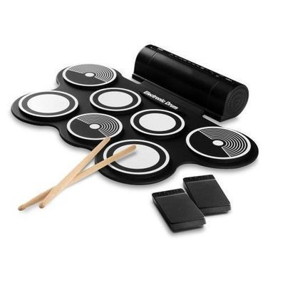 Electronic Drum Kit - Compact Drumming Machine, MIDI Computer Connection, Quick Setup Roll-Up Design (Mac & PC Compatible)