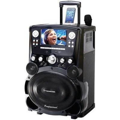 Karaoke USA(TM) GP978 Professional DVD/CD+G/MP3+G Bluetooth(R) Karaoke System with 7 TFT Color Screen & Tote Wheels