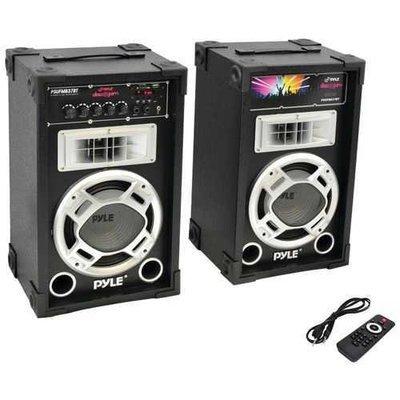 Pyle Pro Dual 800-watt Disco Jam Powered Two-way Pa Bluetooth Speaker System PYLPSUFM837BT
