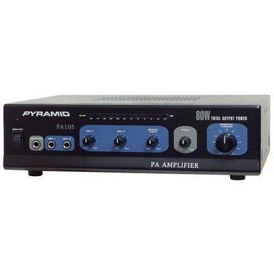 80 Watt Microphone AC & DC 12 Volt PA Amplifier w/70V Output & Mic Talkover