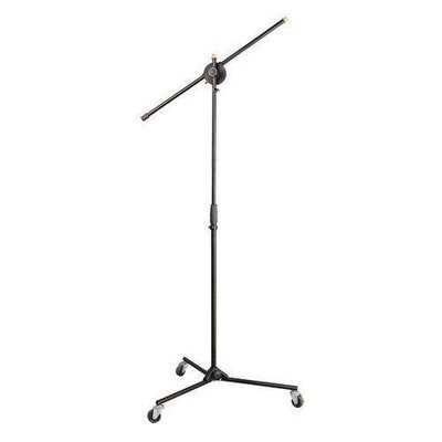 Universal Rolling Wheels Tripod Microphone Stand - Adjustable Height & Extendable