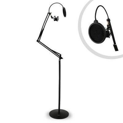 Floor-Standing Suspension Microphone Boom Stand - Studio Scissor Arm Mic Mount, Includes Pop Filter & Anti-Vibration Shock Mount