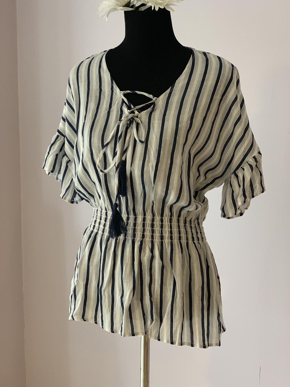 Navy /white Striped Top