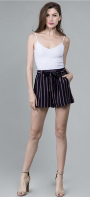 High Waisted Shorts With Self-tie Sash