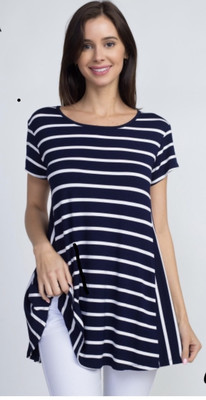 Blue Striped Short Sleeve Top