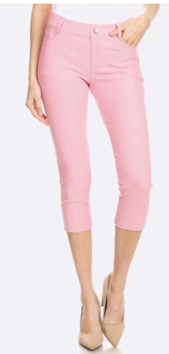 Original 5 Pocket Capri Jegging Comes In White, Pink, Grey