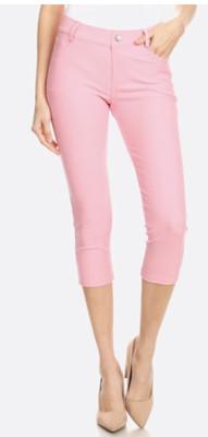 Original 5 Pocket Capri Jegging Comes In White, Pink, Grey