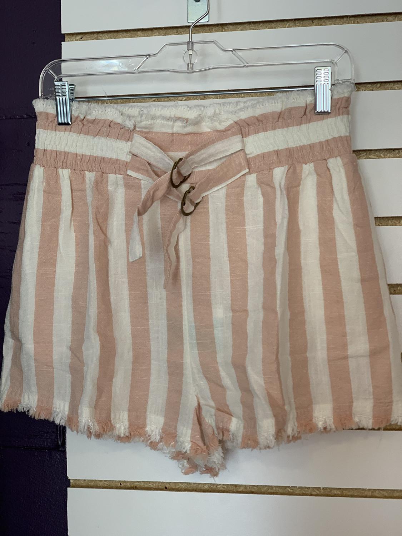 Pink Strip Belted Short