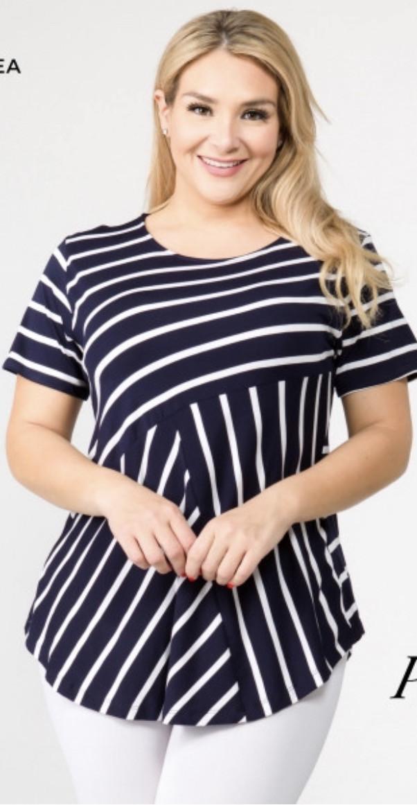 Navy/white Striped Plus Top