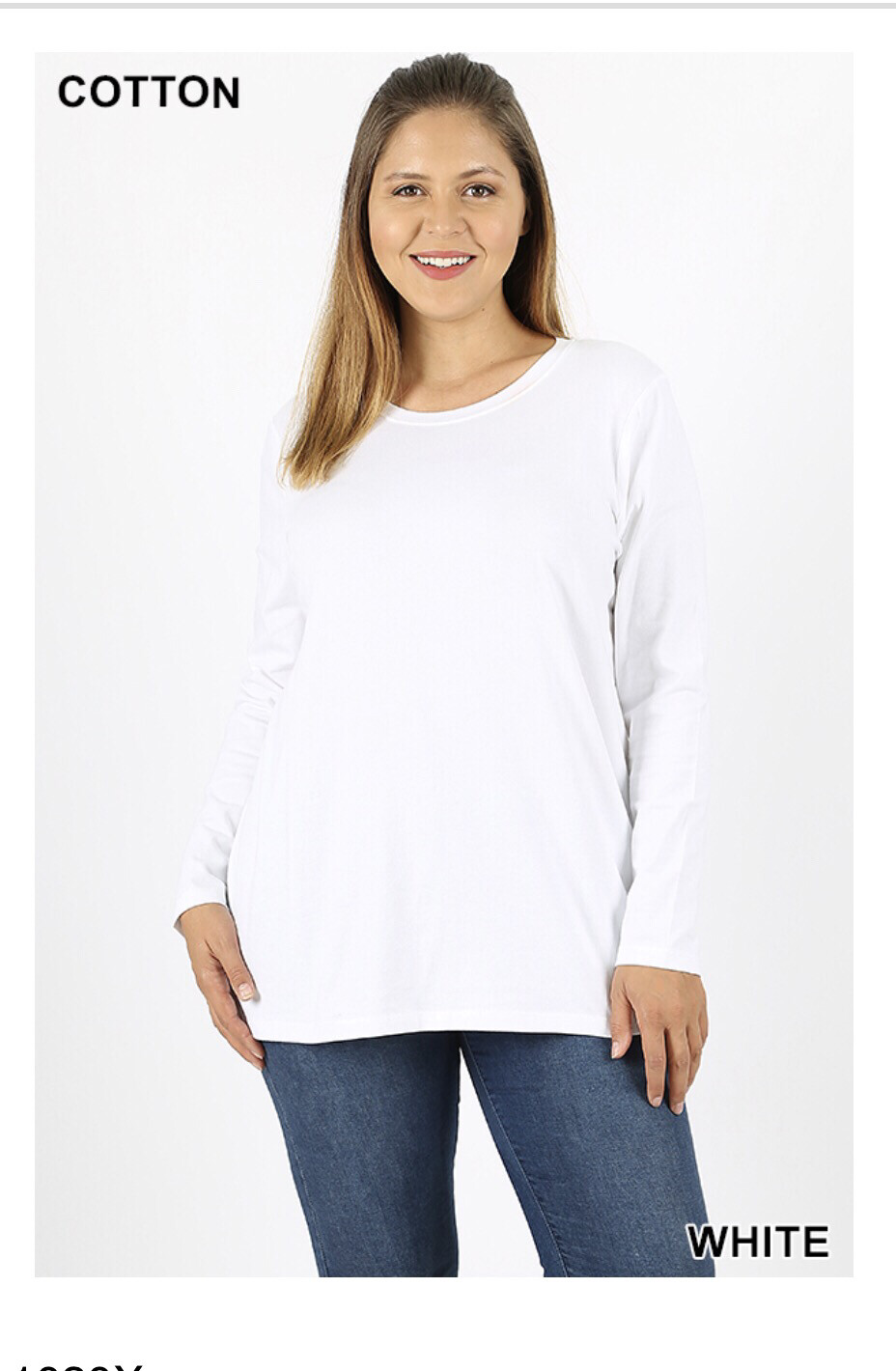 Plus Sized: Long Sleeved Cotton Shirt