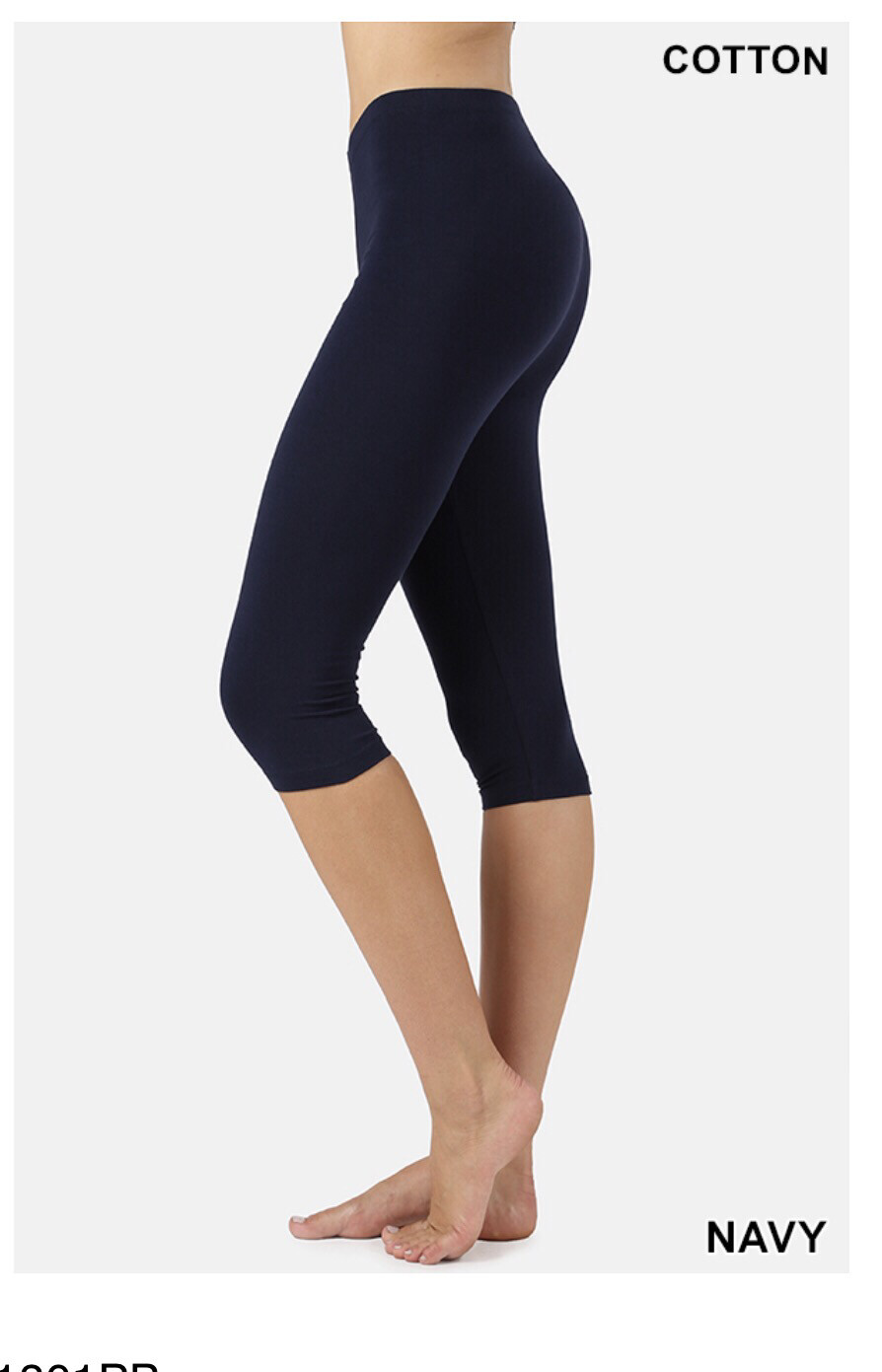 Cotton Capri Legging:Navy