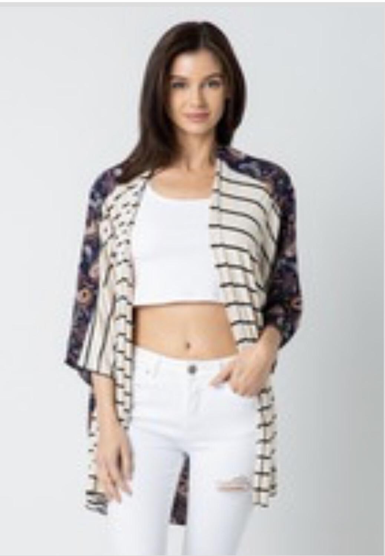 Paisley /striped Kimono