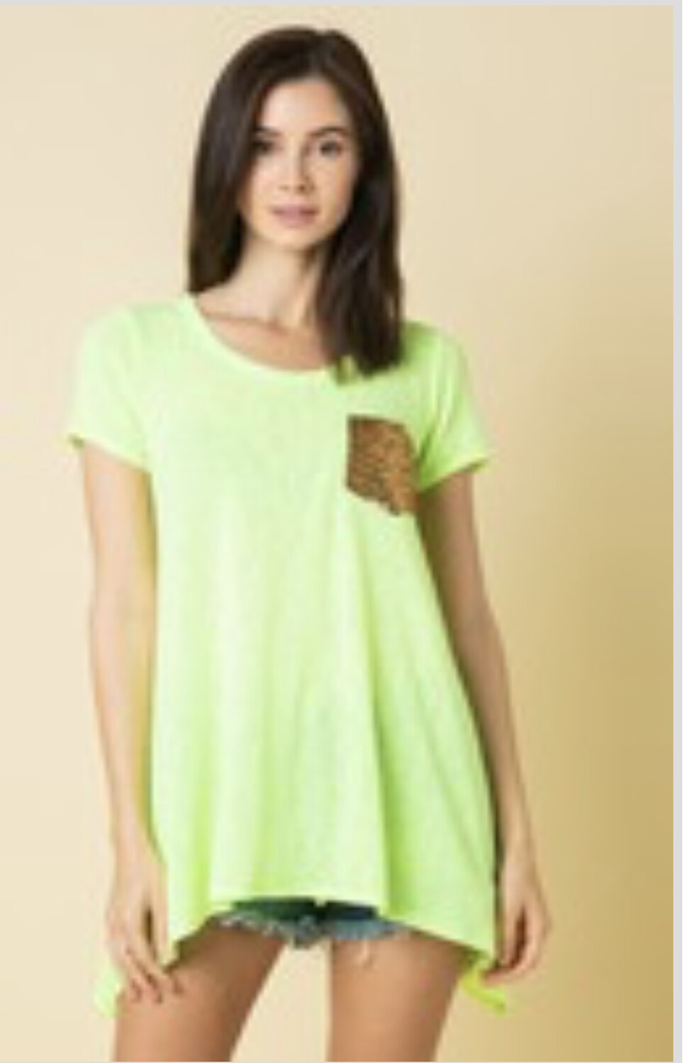 Solid Tunic With Sequin Pocket