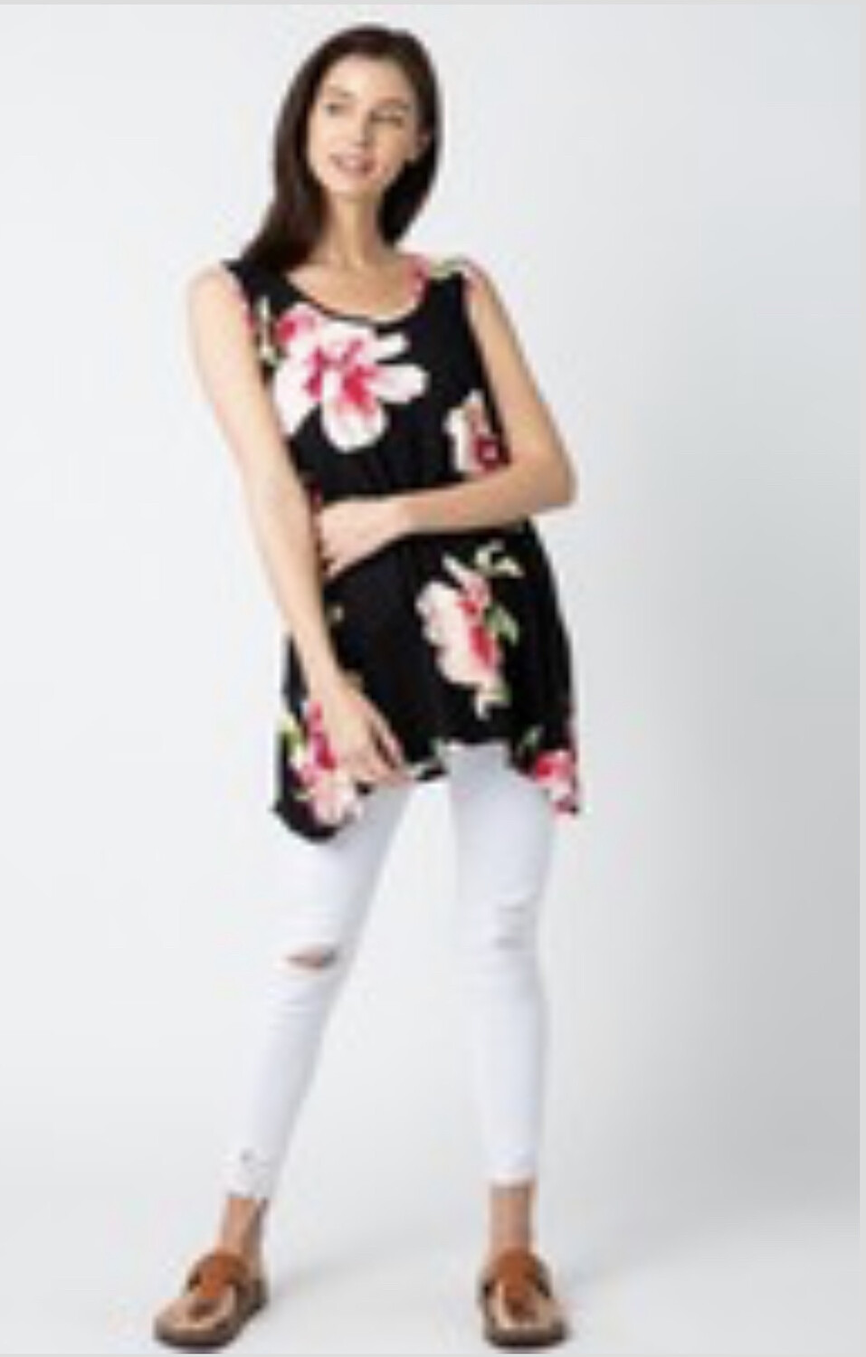 Floral Tank With Cross Strap In Back