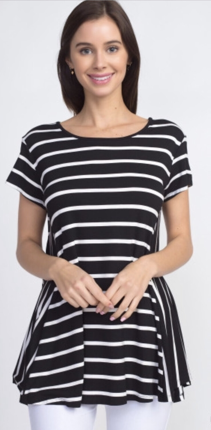 Multi Striped Top W/ Relaxed Hem