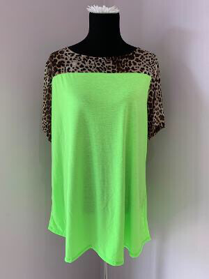 Neon Green With Cheeta Print Sleeves