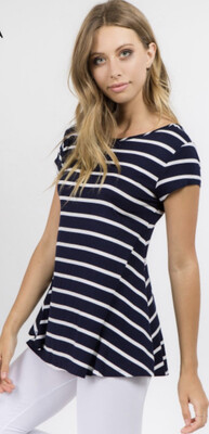 Navy Striped Scooped Back Shirt