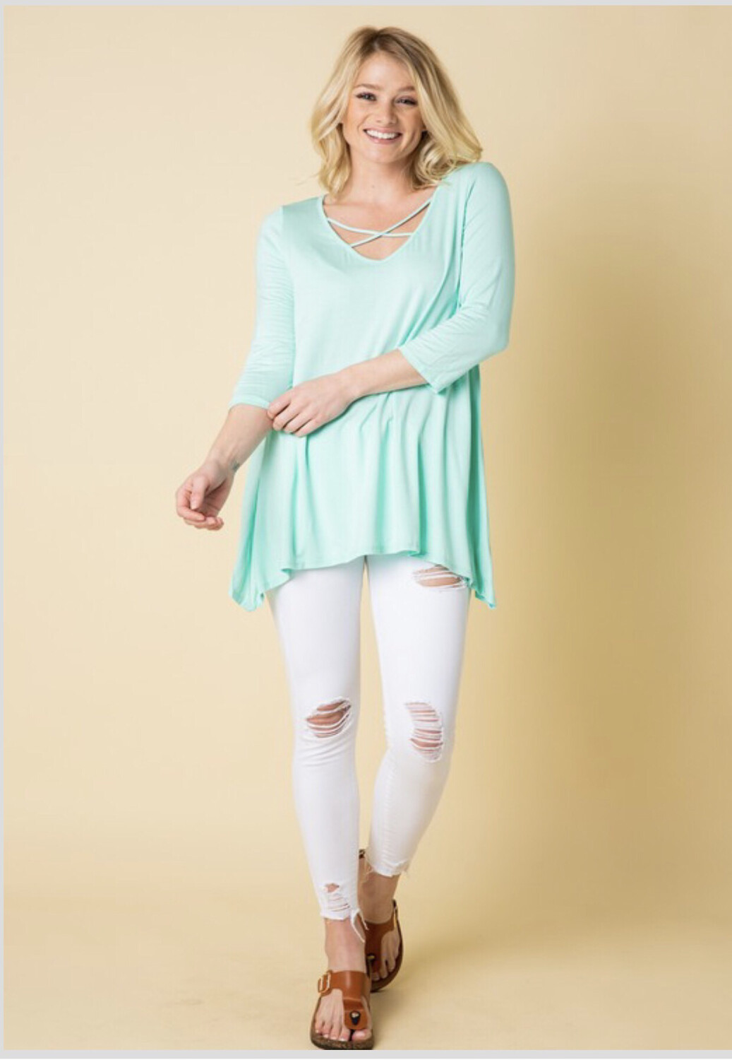 Mint or Black Criss Cross tunic