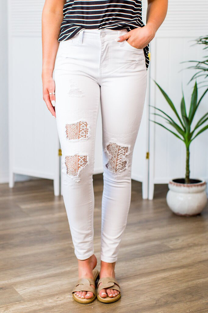 White Lace Patch Skinny Jean
