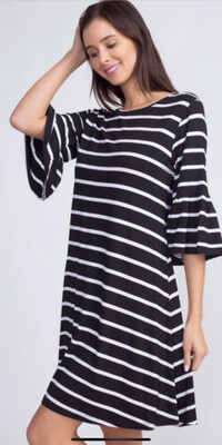 Striped Ruffle Sleeve Dress, Black And White