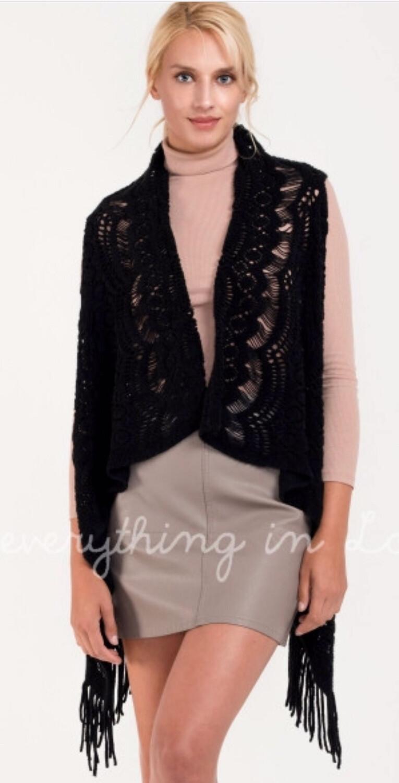 Black Crochet Knit Vest