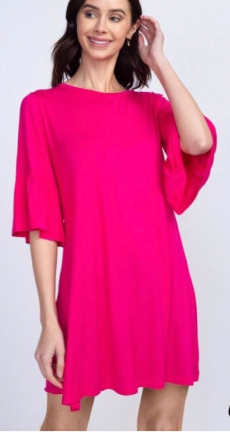 Fuchsia Peplum Sleeve Dress