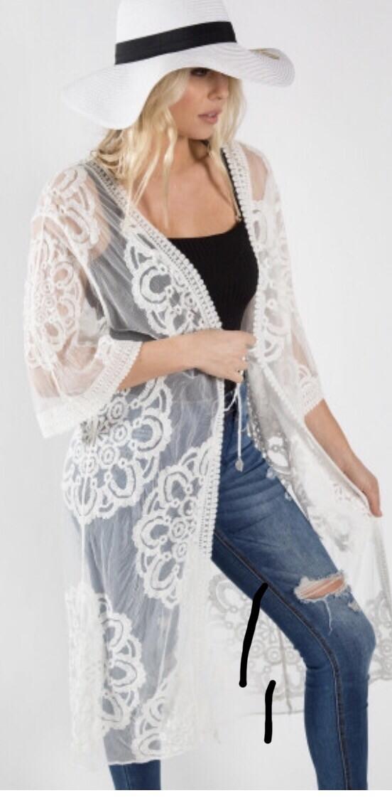 Long White Lace Cardigan