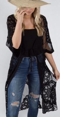 Long Black Lace Cardigan
