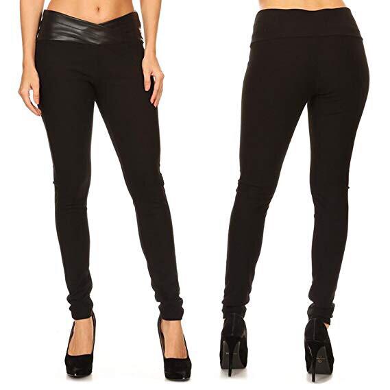 Faux Leather Waist Wrap Black Pants