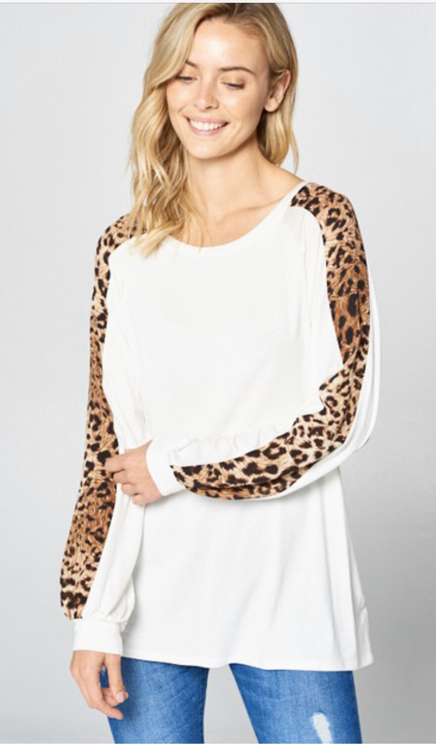 Long Sleeve Leopard/ Ivory Top