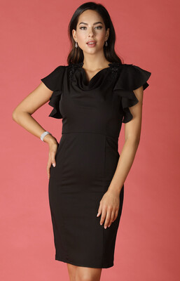Black Cocktail Dress With Shoulder